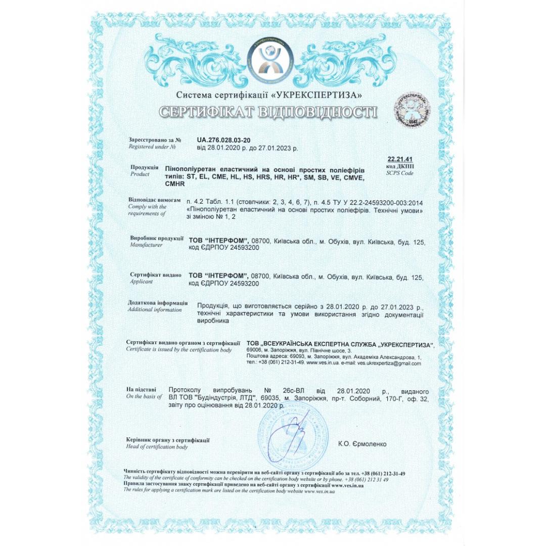 Quality Certificate (Polyurethane foam)