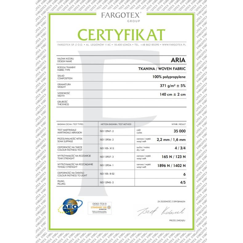 Quality Certificate (Aria Fabric)