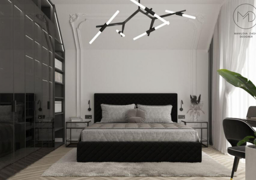 Detached house with upholstered furniture from Delavega: Master bedroom and guest bedroom. K53 bed, K12 bed, Armchairs C750