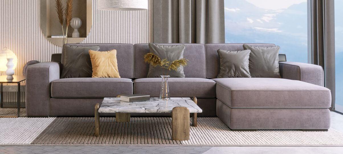 Большой угловой диван без механизма трансформации для зон отдыха