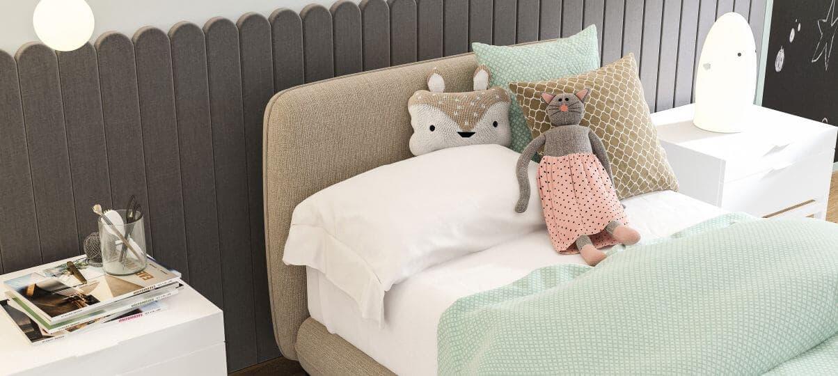 Ліжко для підлітка з м'яким узголів'ям (Дніпро)